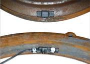 Датчики ДАК-1 и ДАК-2 легко устанавливаются на край чугунного люка в полость между рёбрами жёсткости крышки и кольца люка